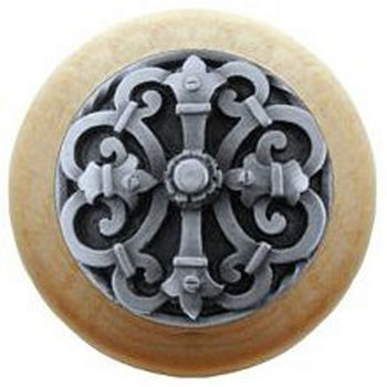 Notting Hill Chateau Collection 1-1/2'' Diameter Chateau Natural Wood Round Knob in Antique Pewter, 1-1/2'' Diameter x 1-1/8'' D