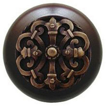 Notting Hill Chateau Collection 1-1/2'' Diameter Chateau Dark Walnut Wood Round Knob in Antique Brass, 1-1/2'' Diameter x 1-1/8'' D