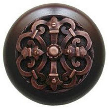Notting Hill Chateau Collection 1-1/2'' Diameter Chateau Dark Walnut Wood Round Knob in Antique Copper, 1-1/2'' Diameter x 1-1/8'' D