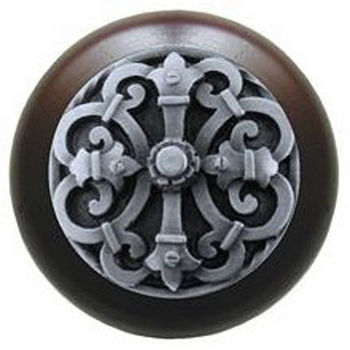 Notting Hill Chateau Collection 1-1/2'' Diameter Chateau Dark Walnut Wood Round Knob in Antique Pewter, 1-1/2'' Diameter x 1-1/8'' D