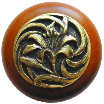 Knob, Tiger Lily, Cherry Wood w/ Pewter, Antique Brass