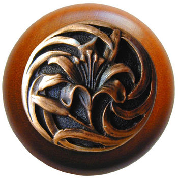Knob, Tiger Lily, Cherry Wood w/ Pewter, Antique Copper
