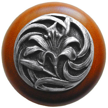 Knob, Tiger Lily, Cherry Wood w/ Pewter, Antique Pewter