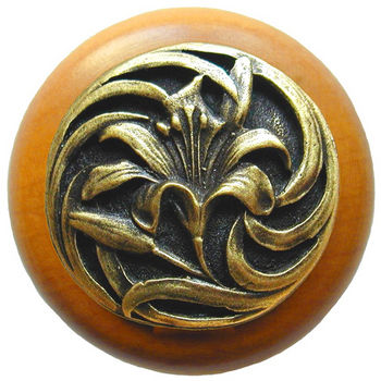 Knob, Tiger Lily, Maple Wood w/ Pewter, Antique Brass
