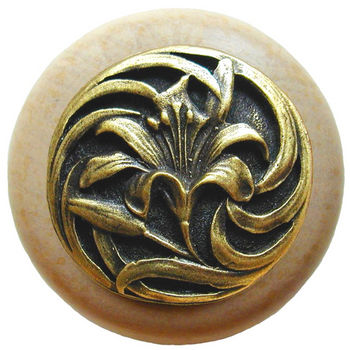 Knob, Tiger Lily, Natural Wood w/ Pewter, Antique Brass