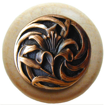 Knob, Tiger Lily, Natural Wood w/ Pewter, Antique Copper