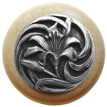 Knob, Tiger Lily, Natural Wood w/ Pewter, Antique Pewter