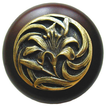 Knob, Tiger Lily, Walnut Wood w/ Pewter, Antique Brass