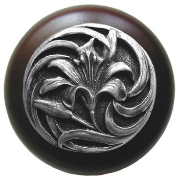 Knob, Tiger Lily, Walnut Wood w/ Pewter, Antique Pewter