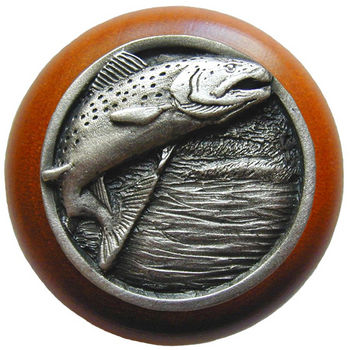 Knob, Leaping Trout, Cherry Wood & Pewter, Antique Pewter