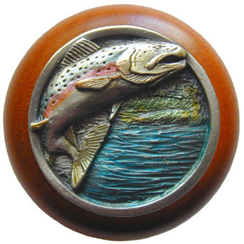 Knob, Leaping Trout, Cherry Wood & Pewter, Hand Tinted Pewter