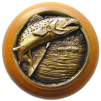 Knob, Leaping Trout, Maple Wood & Pewter, Antique Brass