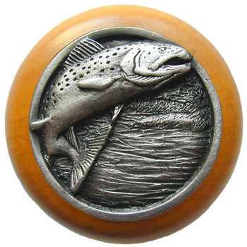 Knob, Leaping Trout, Maple Wood & Pewter, Antique Pewter