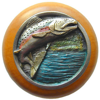 Knob, Leaping Trout, Maple Wood & Pewter, Hand Tinted Pewter
