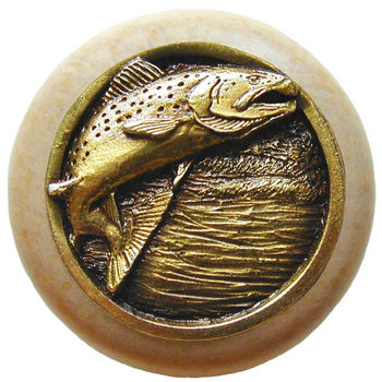 Knob, Leaping Trout, Natural Wood & Pewter, Antique Brass