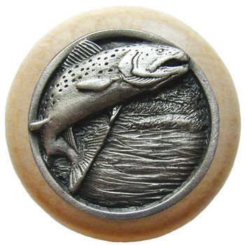 Knob, Leaping Trout, Natural Wood & Pewter, Antique Pewter