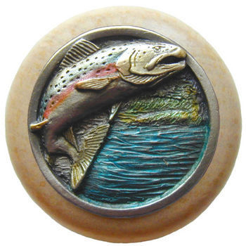 Knob, Leaping Trout, Natural Wood & Pewter, Hand Tinted Pewter