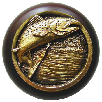 Knob, Leaping Trout, Walnut Wood & Pewter, Antique Brass