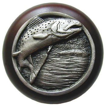 Knob, Leaping Trout, Walnut Wood & Pewter, Antique Pewter