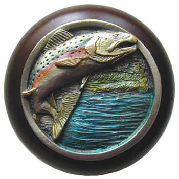 Knob, Leaping Trout, Walnut Wood & Pewter, Hand Tinted Pewter