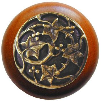 Knob, Ivy, Cherry Wood, Antique Brass