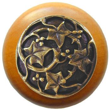 Knob, Ivy, Maple Wood, Antique Brass