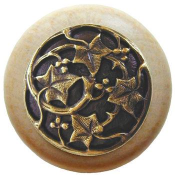Knob, Ivy, Natural Wood, Antique Brass