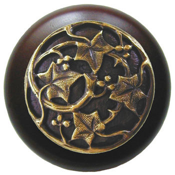 Knob, Ivy, Walnut Wood, Antique Brass