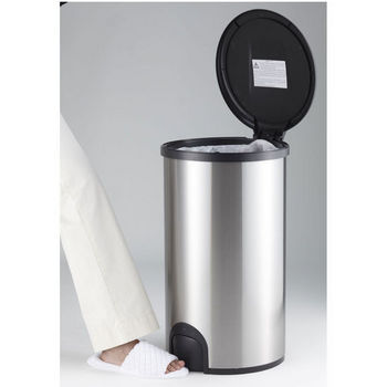 """Nine Stars Hands-Free Infrared Motion Sensor Toe Tap Trash Can, Stainless Steel, 15""""W x 13-1/2""""D x 23-9/10""""H, 12 Gallon"""