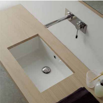Nameeks Miky 40 Under Counter Bathroom Sink in White; 18-1/5