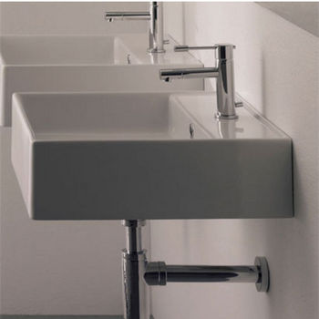 Nameeks Teorema R 40 Wall Mounted Or Above Counter Bathroom Sink in White, Single Hole
