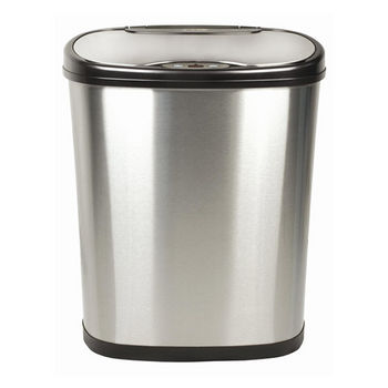 Nine Stars 12 Liters (3.1 Gallons) Infrared Motion Sensor Trash Can in Silver Black / Stainless Steel, 12-1/64'' W x 8-1/5'' D x 15-1/5'' H