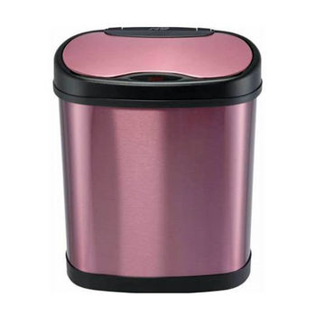 Nine Stars 12 Liters (3.1 Gallons) Infrared Motion Sensor Trash Can in Purple / Stainless Steel, 12-1/64'' W x 8-1/5'' D x 15-1/5'' H