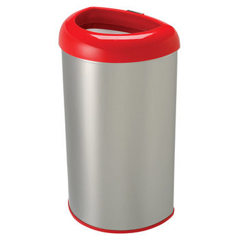 Nine Stars 50 Liters (13.2 Gallons) Open Top Trash Can in Red / Stainless Steel, 14-29/32'' W x 11-29/32'' D x 26-5/16'' H