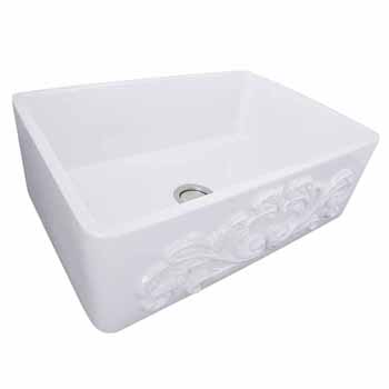 "Nantucket Sinks Vineyard Collection 30"" Farmhouse Fireclay Sink with Filigree Apron, Porcelain Enamel Glazed White Finish, 29-3/4""W x 19-3/4""D x 10""H"