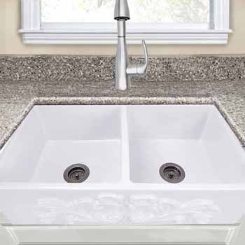 Vineyard Collection 33 Double Bowl Farmhouse Fireclay Sink With Filigree Apron Porcelain Enamel Glaze White Finish 33 W X 18 D X 10 H By Nantucket Sinks Kitchensource Com