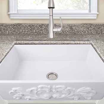 "Nantucket Sinks Vineyard Collection 33"" Farmhouse Fireclay Sink with Filigree Apron, Porcelain Enamel Glazed White Finish, 33""W x 20""D x 10""H"
