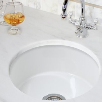 Round Fireclay Sink, White Finish
