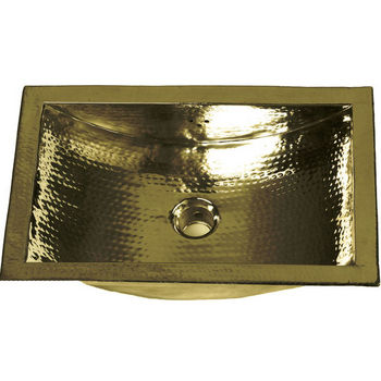 "19-4/5"" Small Hammered Brass Sink"