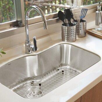 "Nantucket Sinks Sconset Collection Single Bowl Oblong Undermount Premium 304 16-Gauge Stainless Steel Kitchen Sink, 31-1/2"" W x 20-1/2"" D x 9"" H"
