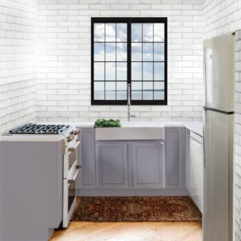 "Nantucket Sinks Glacierstone Collection Retrofit Glacierstone Double Bowl EZApron Kitchen Sink with Bottom Grid and Colander Drain, 30-3/4"" W x 20-1/2"" D x 9-1/4"" H"