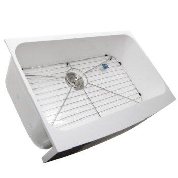 "Nantucket Sinks Glacierstone Collection Retrofit Glacierstone Single Bowl EZApron Kitchen Sink with Bottom Grid and Colander Drain, 30-3/4"" W x 20-1/2"" D x 9-3/8"" H"