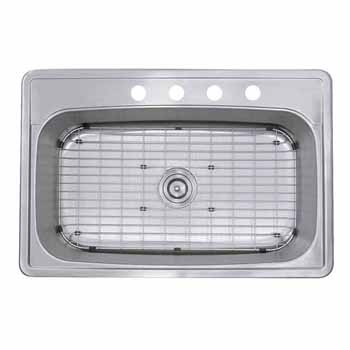 Nantucket Sinks Madaket Collection Large Rectangle Single Bowl Stainless Steel Drop In Kitchen Sink, 33''W x 22''D x 8''H