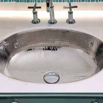 Brightwork Home Collection Hand Hammered Stainless Steel Oval Undermount Bathroom Sink With Overflow 17 1 2 W X 13 3 4 D X 7 3 8 H By Nantucket Sinks Kitchensource Com
