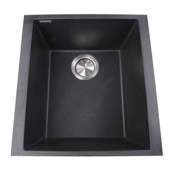 "Nantucket Sinks Plymouth Collection 17"" Single Bowl Undermount Granite Composite Bar-Prep Sink in Black, 16-1/8"" W x 17"" D x 8-1/4"" H"