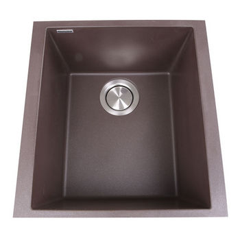 "Nantucket Sinks Plymouth Collection 17"" Single Bowl Undermount Granite Composite Bar-Prep Sink in Brown, 16-1/8"" W x 17"" D x 8-1/4"" H"