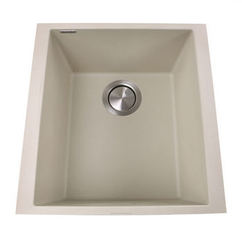 "Nantucket Sinks Plymouth Collection 17"" Single Bowl Undermount Granite Composite Bar-Prep Sink in Sand, 16-1/8"" W x 17"" D x 8-1/4"" H"