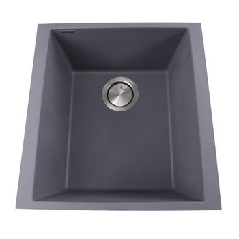 "Nantucket Sinks Plymouth Collection 17"" Single Bowl Undermount Granite Composite Bar-Prep Sink in Titanium, 16-1/8"" W x 17"" D x 8-1/4"" H"