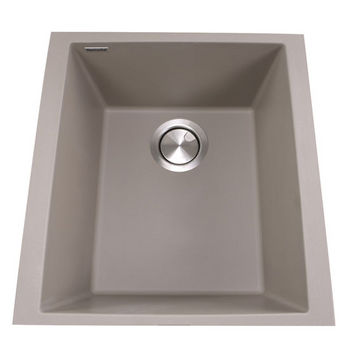 "Nantucket Sinks Plymouth Collection 17"" Single Bowl Undermount Granite Composite Bar-Prep Sink in Truffle, 16-1/8"" W x 17"" D x 8-1/4"" H"