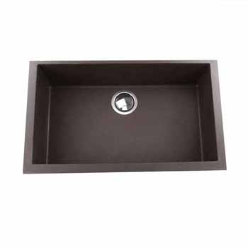 "Nantucket Sinks Plymouth Collection Large Single Bowl Undermount Granite Composite Brown Sink, 30""W x 17-3/4""D x 8-1/4""H"